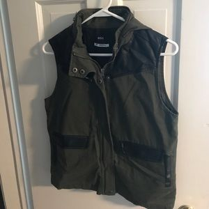 Army green and black leather vest